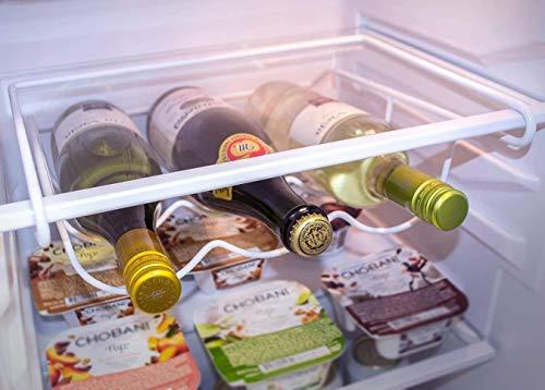 MosQuick® Fridge Bottle Holder Fridge Wine Rack- Refrigerator Bottle Rack Holds 3 Bottles of Your Favorite Wine or Drink Universal Bottle Holder Will Fit Most Fridges-White
