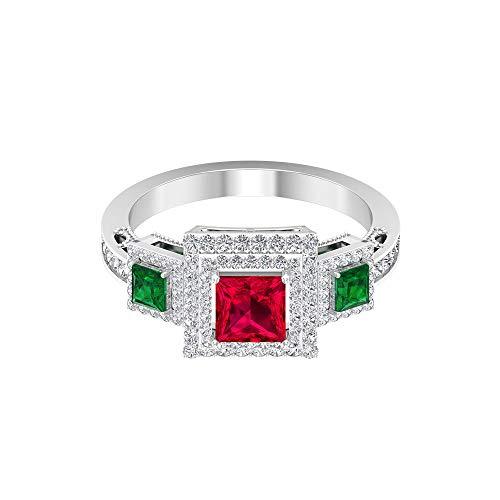Rosec Jewels 14 quilates oro amarillo talla princesa Round Brilliant Red Green Ruby Emerald Moissanite