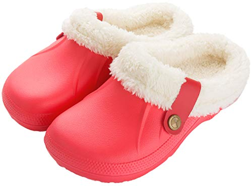 ChayChax Damen Clogs Gefüttert Herren Winter Hausschuhe Wasserdicht Warme Pantoffeln Plüsch Pantoletten rutschfeste Outdoor Winterschuhe