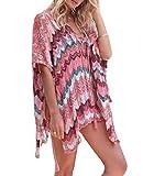 Walant - Vestito da spiaggia in pizzo, con gancio, taglia tunica, stile Kimono Boemia, costume da spiaggia rosso Taglia unica
