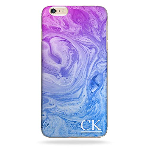 Personalised Initials Underline Phone Case Purple Blue Marble Swirl Effect Hard Cover for Lenovo K8 Note (2017)