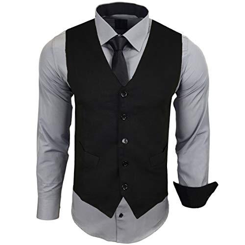 Rusty Neal Herren Hemd mit Weste Krawatte Anzugs Sakko Business Hochzeit Freizeit Hemden Set wählbar RN-44-HWK, Größe:L, Farbe:Grau