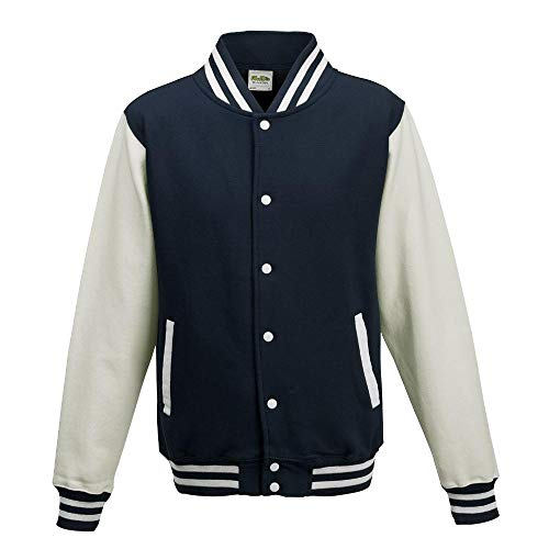 Just Hoods - Unisex College Jacke \'Varsity Jacket\' BITTE DIE JH043 BESTELLEN! Gr. - L - Oxford Navy/White