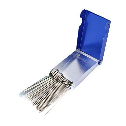 Accesorios de soldadura-21Pcs Limpiador de boquillas de punta de soldadura de gas de acero inoxidable Juego de archivos for soldadura de soldadura