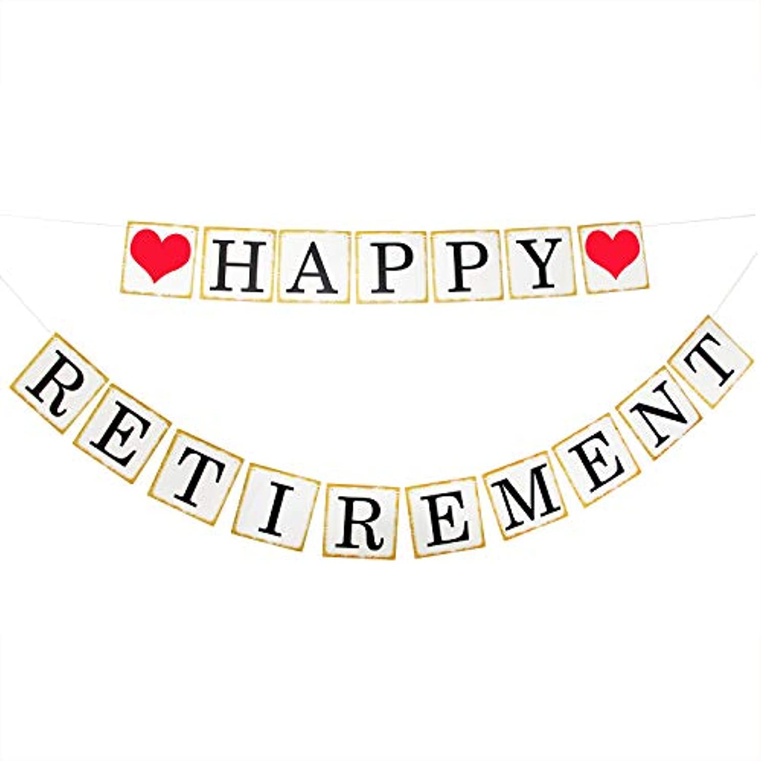 Happy Retirement Banner, Vintage Style Paper Sign Garland for Retirement Party