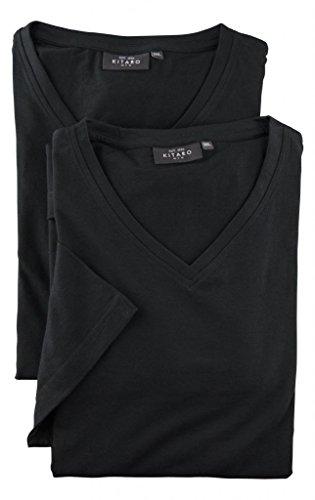Kitaro Lot de Deux T-Shirts Noir Manches Courtes Col V