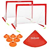 GoSports Foldable Pop Up Soccer Goal Nets, Set of 2, With Agility Training Cones and Portable...