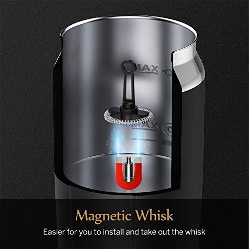 Hommak Electric Milk Frother, Automatic Milk Foam Maker, Hot or Cold Milk Steamer with Heating and Stirring Function, One-Button Operation for Coffee, Hot Cocoa, Cappuccino, Latte, Macchiato
