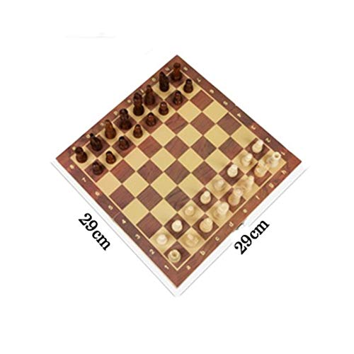 Chess Timer Chess Board Set Wooden Chess Set Folding Magnetic Large Board with 34 Chess Pieces Interior for Storage Portable Travel Board Game Set for Kid Traditional Games (Size : 29x29cm)