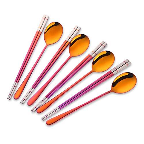 Buyer Star 4 sets Acero Inoxidable Palillos y Cuchara Rojo Magico Cuberteria 8 piezas Coreano Palillos Cucharas Servicio para 4