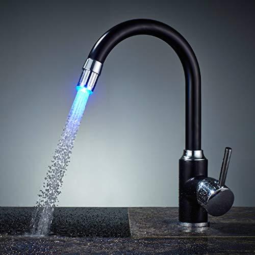 Auralum - Grifos de Cocina Negro con RGB LED Mezclador de Fregadero Giro de 360° Grifo de Fregadero Monomando en Latón para Agua Caliente y Fría