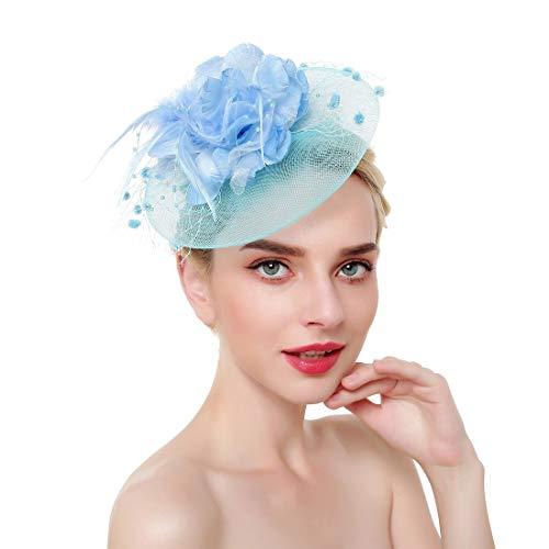 HQQ Accessoires de Cheveux de Plume de Chapeau de Fleur de Maille Petit Chapeau Pince à Cheveux (Color : Light Blue)