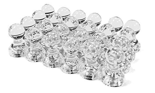 24 Clear Magnetic Push Pins, Perfect for Maps, Whiteboards, Refrigerators, Bulletin Boards