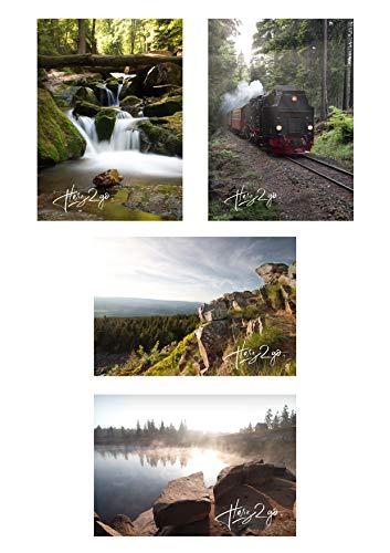 4er Set Harz2go Postkarte Harz Motivkarte Grusskarte Bilder Landschaft Natur Wasser Wald