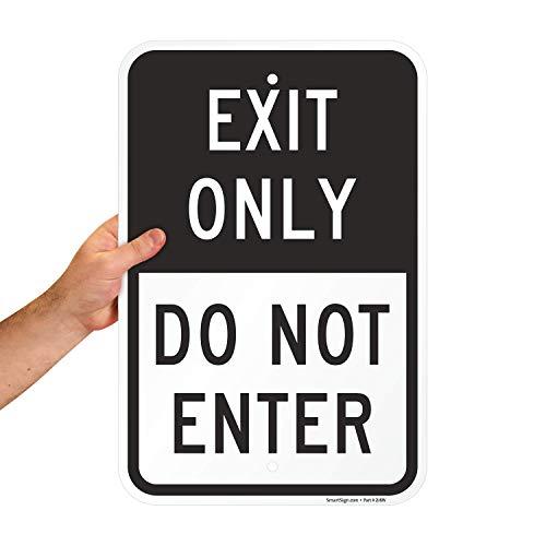"SmartSign - K-8367-AL-12x18 ""Exit Only - Do Not Enter"" Sign | 12"" x 18"" Aluminum Black on White"