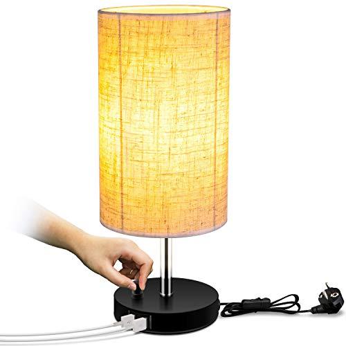 Lightess Lámpara de Mesa Lámpara Mesita de Noche Brillo Ajustable con Botón USB Dual Pantalla de Tela Lámpara...