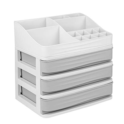 JULY'S SONG Cosmetic Makeup Organizer with Drawers, Plastic Bathroom Skincare Storage Box Brush Lipstick Holder(S-3, Grey)