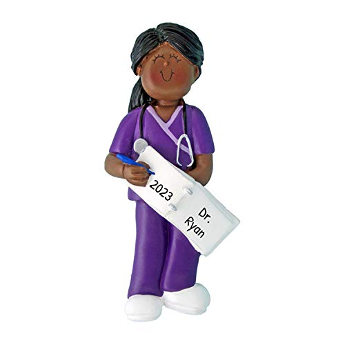 Personalized Scrubs Nurse Girl Christmas Tree Ornament 2020 - African-American Woman Practitioner Medical Health Care Purple Prescription New Job Ethnic - Free Customization (Female Black)