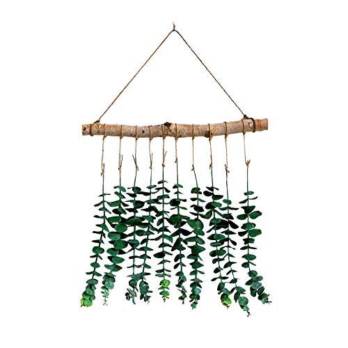 æ— Guirnalda de hojas de eucalipto artificiales para colgar en hojas de eucalipto, planta de eucalipto de imitación de plata para decoración de pared, estilo bohemio, decoración de la sala de estar