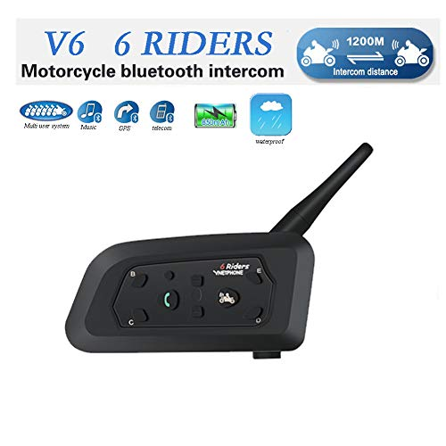 V6 Moto Bluetooth Casco Intercomunicador Intercomunicador Auricular, dúplex Completo Moto inalámbrico Interfono Conecte hasta 6 pasajeros, Radio FM/GPS / MP4 / 1200M (1 Pieza)
