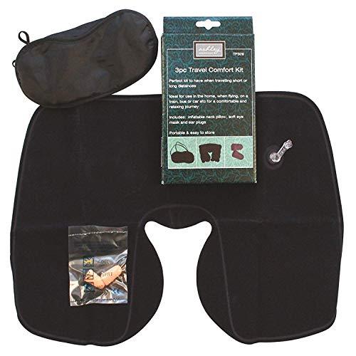 Ashley Comfort In Viaggio Kit, 3 pezzi include cuscino del collo, tappi per le orecchie e occhio copri