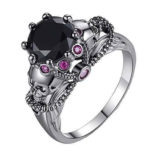 Damen Mädchen Ring Halloween Totenkopfringe Diamanten Farbige Zirkon Ringe Farbige Ringe, Größe 6-10