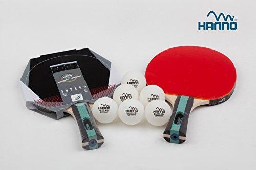 Hanno Tischtennis Schlägerset 2 x Super 3 + 6 Bälle 40+ (Set Super3 ****)