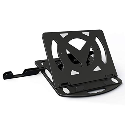 AYRELY Adjustable Laptop Stand with Phone Stand , Foldable and Rotatable Notebook Computer Holder Stand, Compatible with MacBook, HP, Alienware, XPS,More Laptops up to 17.3'