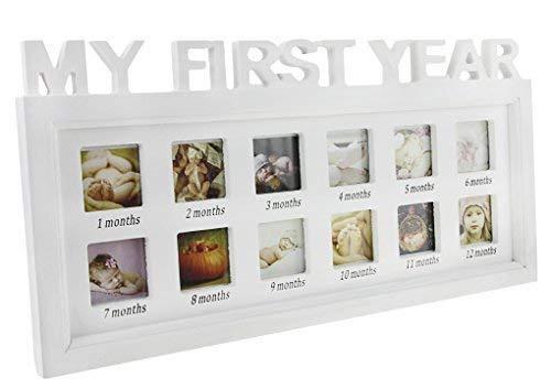 """Cornice portafoto con scritta in lingua inglese """"My first year"""", cornice multifoto del primo anno del bambino, unisex, kit per album dei ricordi, ideale come regalo per compleanno, Natale o battesimo."""