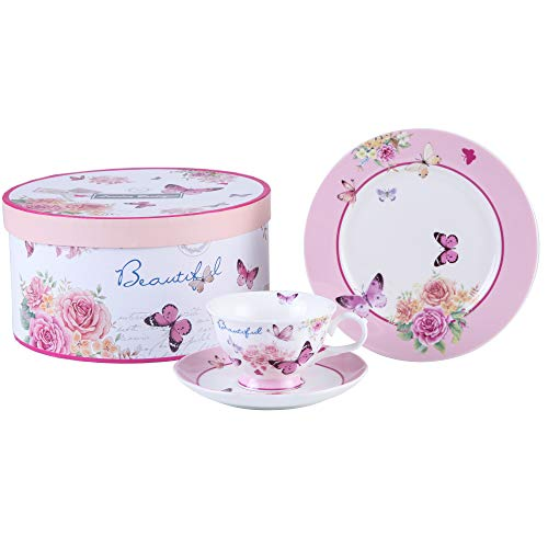 London Boutique Afternoon Tea Set 3 Coffee Tea cup and Saucer Dessert Plate Shabby Chic Vintage porcelain Gift Box (Butterflies)