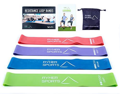 Ryher Set 4 Cintas elasticas musculacion - Bandas de Resistencia Fitness para Crossfit, Pilates, Ejercicio en casa - Gomas elasticas para Hombres y Mujeres - Látex - Incluye Manual PDF (4 Bandas)