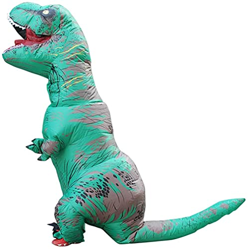 QASIMOF Disfraz Dinosaurio Inflable T-Rex Disfraz Brown Adult para Halloween Carnaval Fiesta Cospaly (Green)
