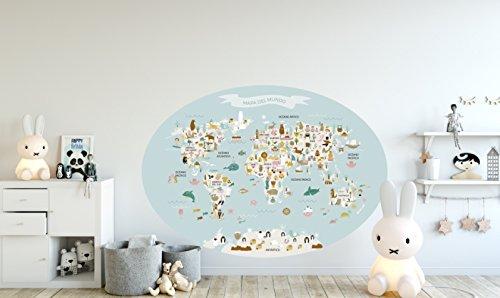 Menudos Cuadros Vinilo Decorativo Infantil mapamundi Ovalado Azul de Animales y monumentos...