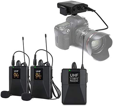 XTUGA X CM012 UHF Dual Wireless Lavalier Microphone UHF Lapel Mic System with 16 Selectable product image