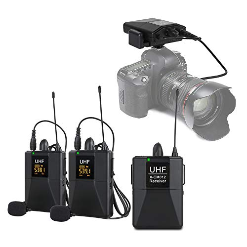 XTUGA X-CM012 UHF Dual Wireless Lavalier Microphone, UHF Lapel Mic System with 16 Selectable Channels Come with Two 3.5mm Cables up to 164ft Range for DSLR Camera/DV/Camcorders/Audio Recorder