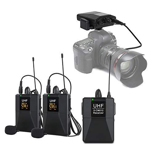 XTUGA X-CM012 UHF Dual Wireless Lavalier, sistema de micrófono de solapa UHF con 16 canales seleccionables vienen con dos cables de 3.5 mm de rango de hasta 50 m para cámara réflex digital/DV/videocámaras/grabadora de audio