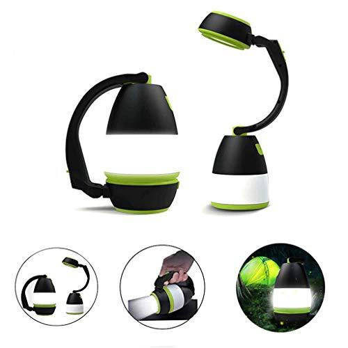 Lanterne De Camping Lampe De Poche Torche Rechargeable LED Puissante Portable en Plein Air Multifonction Camping Randonnée Pêche,Black Green
