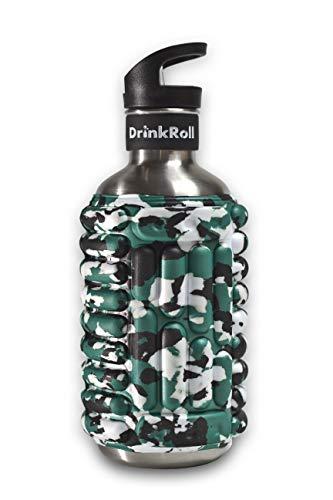 DrinkRoll Trinkflasche & Faszienrolle ⎮ 2in1 Lösung ⎮Massage Rolle ⎮ Faszienmassage ⎮ Fitness ⎮ Sportflasche zum Wandern (Camo-Grau, 1200ml)