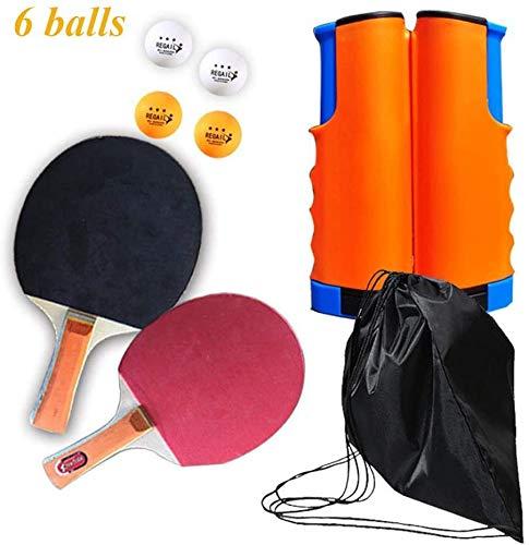 RJJBYY Juego de tenis de mesa portátil para interior y exterior, 2 raquetas de ping pong, con estuche, 2 raquetas y 6 bolas, ideal para principiantes y familias