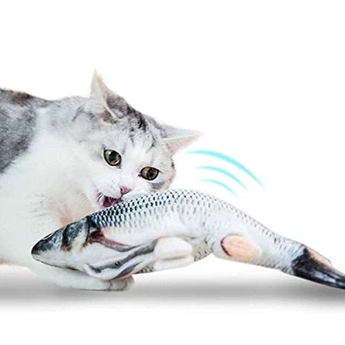 WesGen Realistic Plush Simulation Electric Doll Fish, Funny Interactive Pets Chew Bite Supplies for Cat/Kitty/Kitten Fish Flop Cat Toy Catnip Toys - Perfect for Biting, Chewing and Kicking