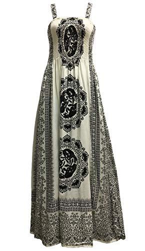 Yoga Trendz Celtic Print Sleeveless Bohemian Summer Long Maxi Dress (White #2)