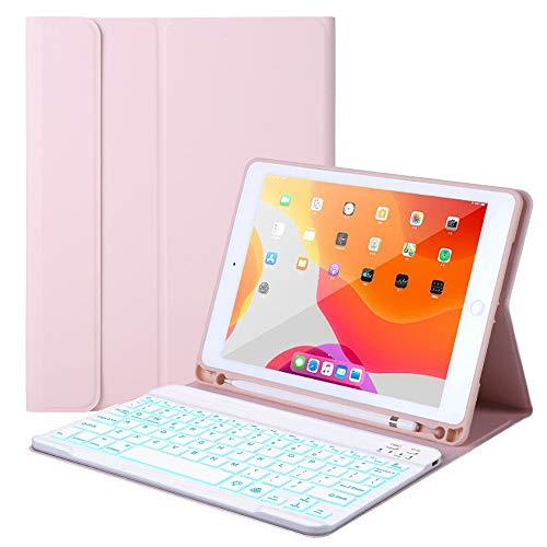 """Nuova custodia per iPad 10.2"""" iPad Pro 10.5 (Air 3) 8./7° generazione - Retroilluminazione con 7 colori - Tastiera magnetica rimovibile wireless - Cover per iPad 10.2"""""""