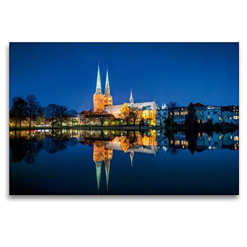 CALVENDO Premium Textil-Leinwand 120 x 80 cm Quer-Format Dom zu Lübeck mit Spiegelung auf dem Mühlenteich, Leinwanddruck von Sabine Smith