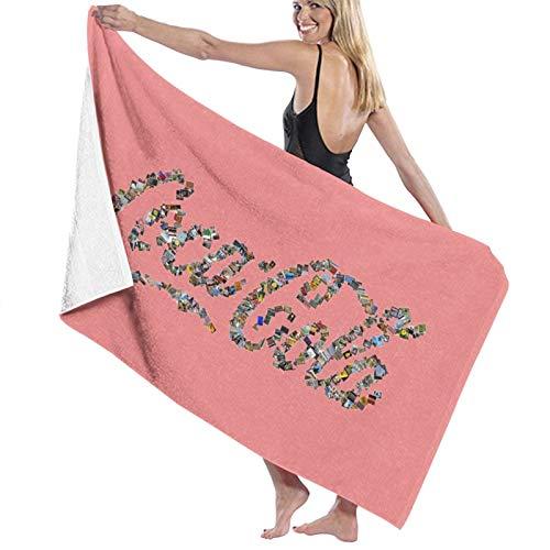 Collage-coke Toalla de baño de secado rápido, suave, toalla de ducha de playa, 130 x 80 cm