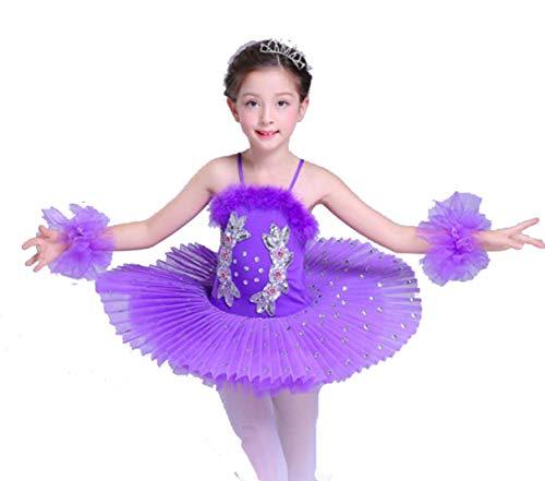ZYLL Kinderballett Tutu Dress Swan Lake Multicolor Ballett Kostüme Kids Girl Ballett Dress,Purple,130CM