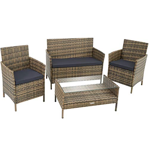 TecTake 800894 Rattan garden furniture set with coffee table, sofa and 2 chairs + seat cushions ideal for a balcony, patio, terrace or garden (Nature)
