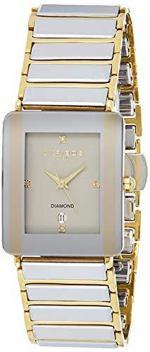 Akribos XXIV Men's AK521 Rectangular Ceramic Quartz Movement Watch Inner Link Bracelet (Yellow Gold)
