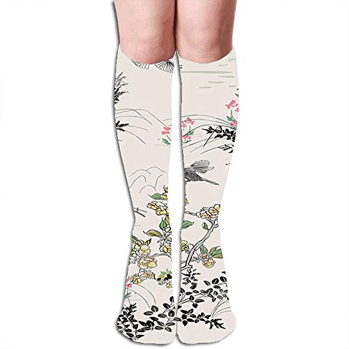magic ship Japanese Chinese Design Ink Flower Compression Socks For Women&Men - Best Medical For Running Athletic Flight Travel Circulation Recovery,19.68 Inch