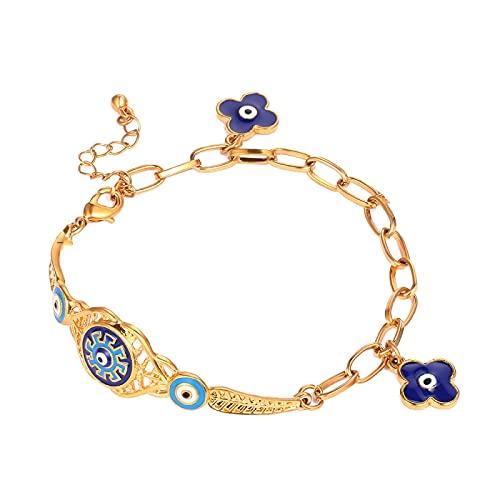 Pulseras Musulmanas Con Encanto De Oriente Medio De Cristal De Ojo Malvado Azul Para Mujer, Pulsera De Ojo Azul Turco Chapado En Oro