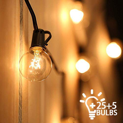Leilims Outdoor-Schnur-Licht-Netz Powered Festoon Lighting 25FT G40 IP44 for Indoor Outdoor deacute; COR Hochzeit Hinterhof Patio Cafe-Garten-Party-Dekoration